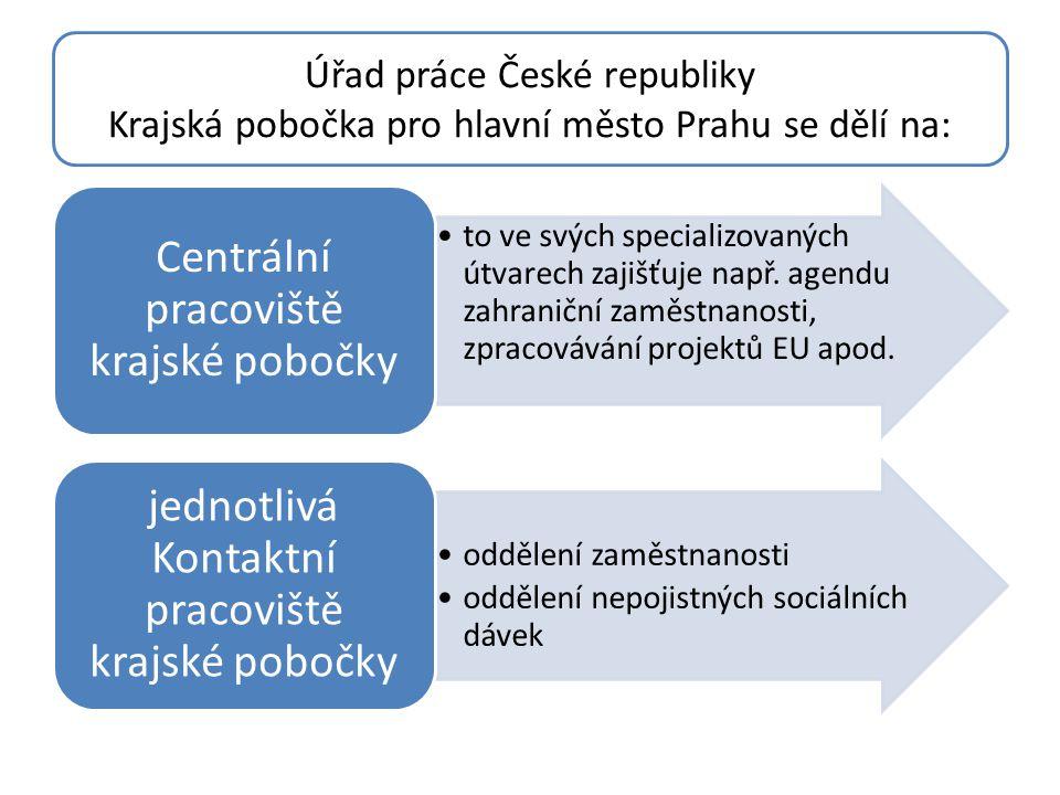 Úřad práce České republiky Krajská pobočka pro hlavní město Prahu se dělí na: •to ve svých specializovaných útvarech zajišťuje např. agendu zahraniční