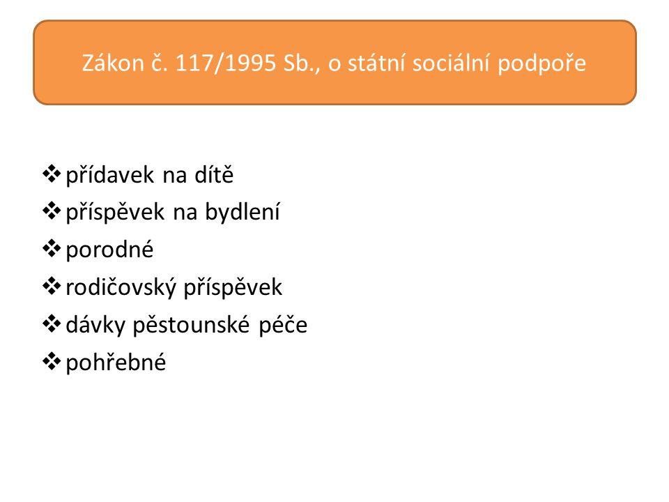Zákon č. 117/1995 Sb., o státní sociální podpoře  přídavek na dítě  příspěvek na bydlení  porodné  rodičovský příspěvek  dávky pěstounské péče 