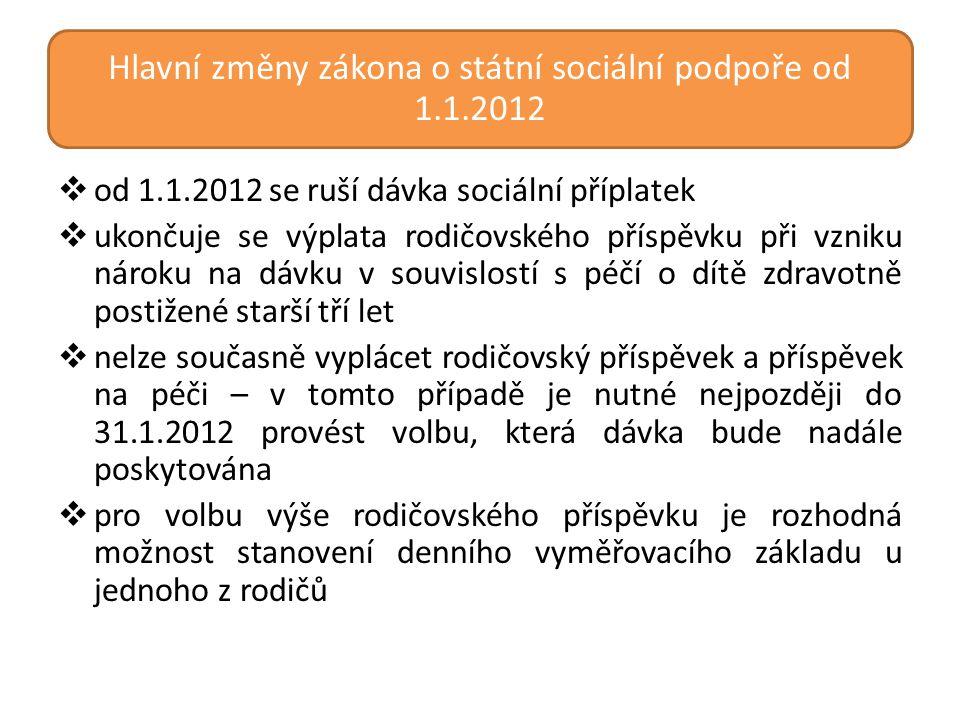 Hlavní změny zákona o státní sociální podpoře od 1.1.2012  od 1.1.2012 se ruší dávka sociální příplatek  ukončuje se výplata rodičovského příspěvku