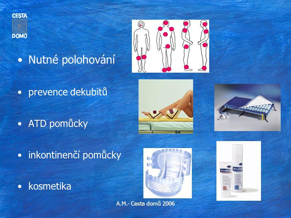 A.M.- Cesta domů 2006 •Nutné polohování •prevence dekubitů •ATD pomůcky •inkontinenčí pomůcky •kosmetika