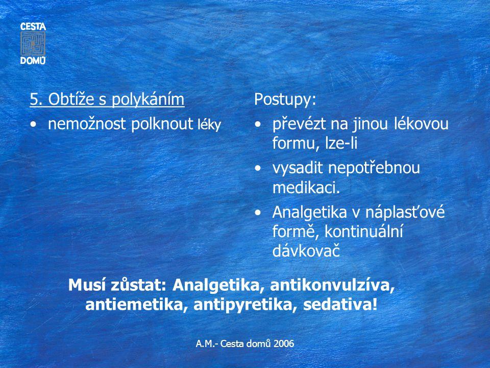 A.M.- Cesta domů 2006 Musí zůstat: Analgetika, antikonvulzíva, antiemetika, antipyretika, sedativa! 5. Obtíže s polykáním •nemožnost polknout léky Pos