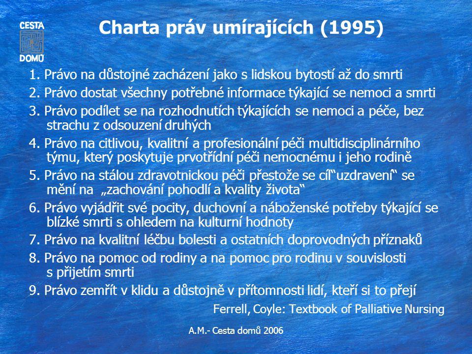 A.M.- Cesta domů 2006 Charta práv umírajících (1995) 1. Právo na důstojné zacházení jako s lidskou bytostí až do smrti 2. Právo dostat všechny potřebn