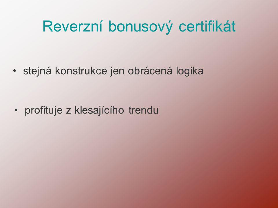 Reverzní bonusový certifikát •profituje z klesajícího trendu •stejná konstrukce jen obrácená logika