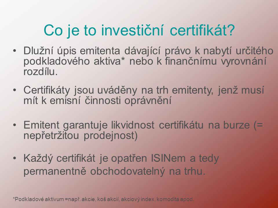 Co je to investiční certifikát? •Dlužní úpis emitenta dávající právo k nabytí určitého podkladového aktiva* nebo k finančnímu vyrovnání rozdílu. •Cert