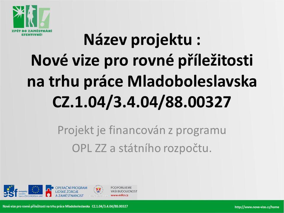 Název projektu : Nové vize pro rovné příležitosti na trhu práce Mladoboleslavska CZ.1.04/3.4.04/88.00327 Projekt je financován z programu OPL ZZ a stá
