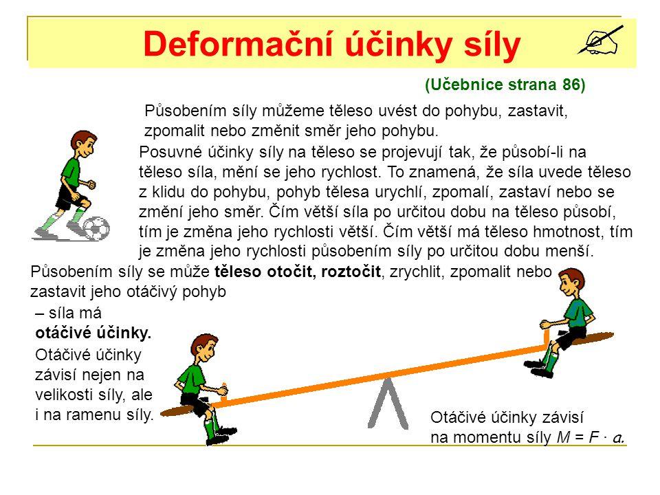 Deformační účinky síly (Učebnice strana 86) Působením síly můžeme těleso uvést do pohybu, zastavit, zpomalit nebo změnit směr jeho pohybu. Posuvné úči