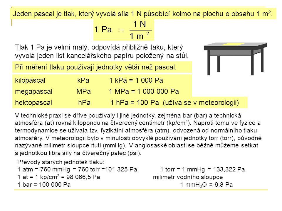 Jeden pascal je tlak, který vyvolá síla 1 N působící kolmo na plochu o obsahu 1 m 2. Tlak 1 Pa je velmi malý, odpovídá přibližně taku, který vyvolá je