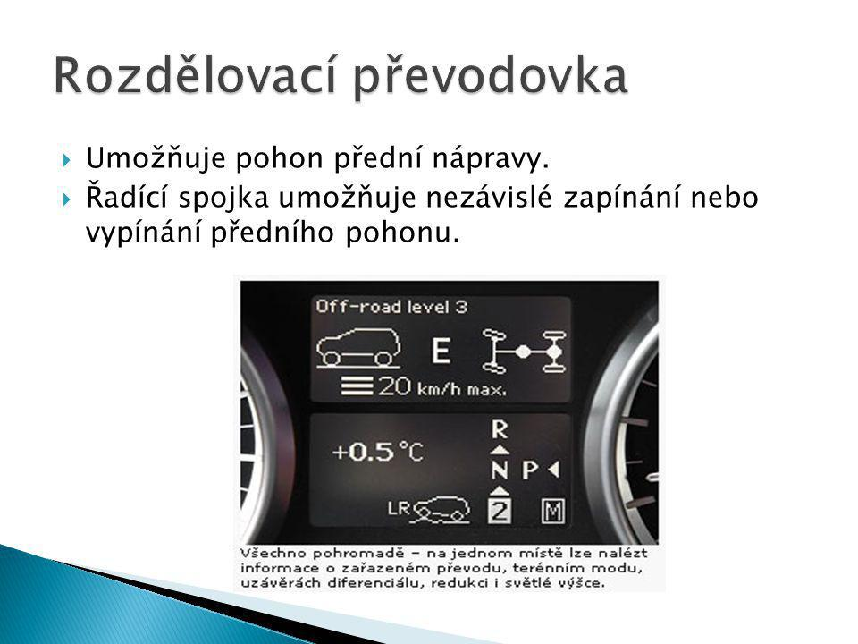  Umožňuje pohon přední nápravy.  Řadící spojka umožňuje nezávislé zapínání nebo vypínání předního pohonu.