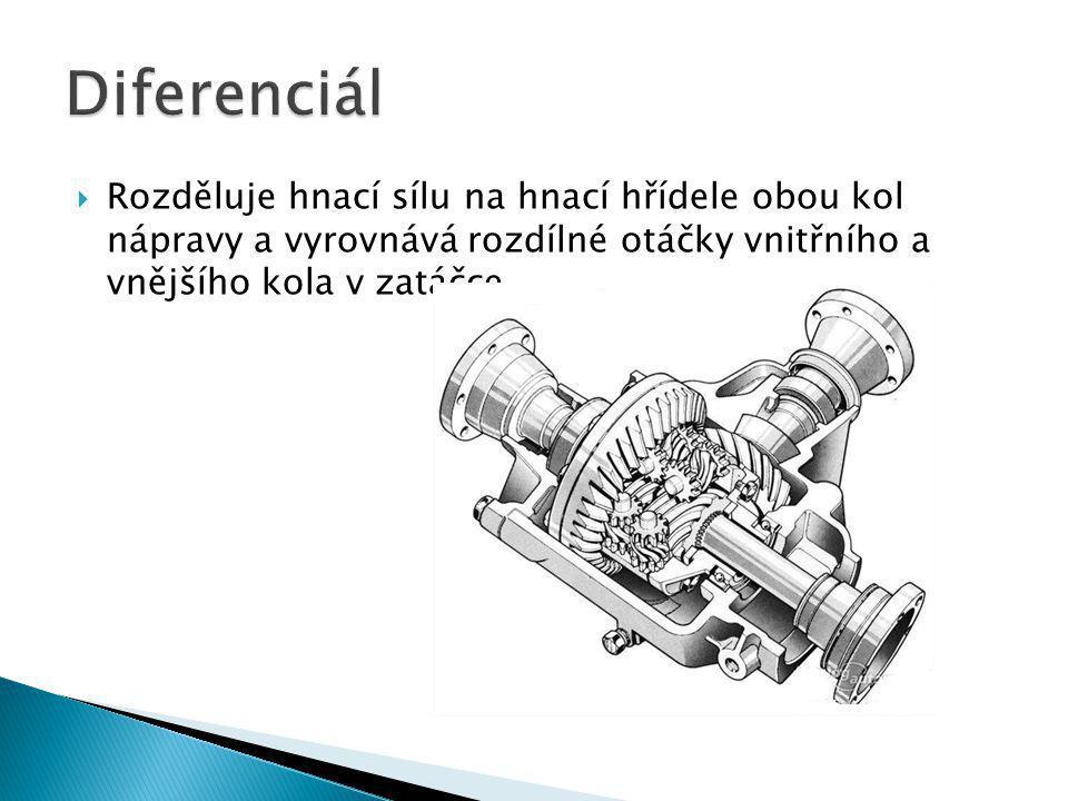  Rozděluje hnací sílu na hnací hřídele obou kol nápravy a vyrovnává rozdílné otáčky vnitřního a vnějšího kola v zatáčce.