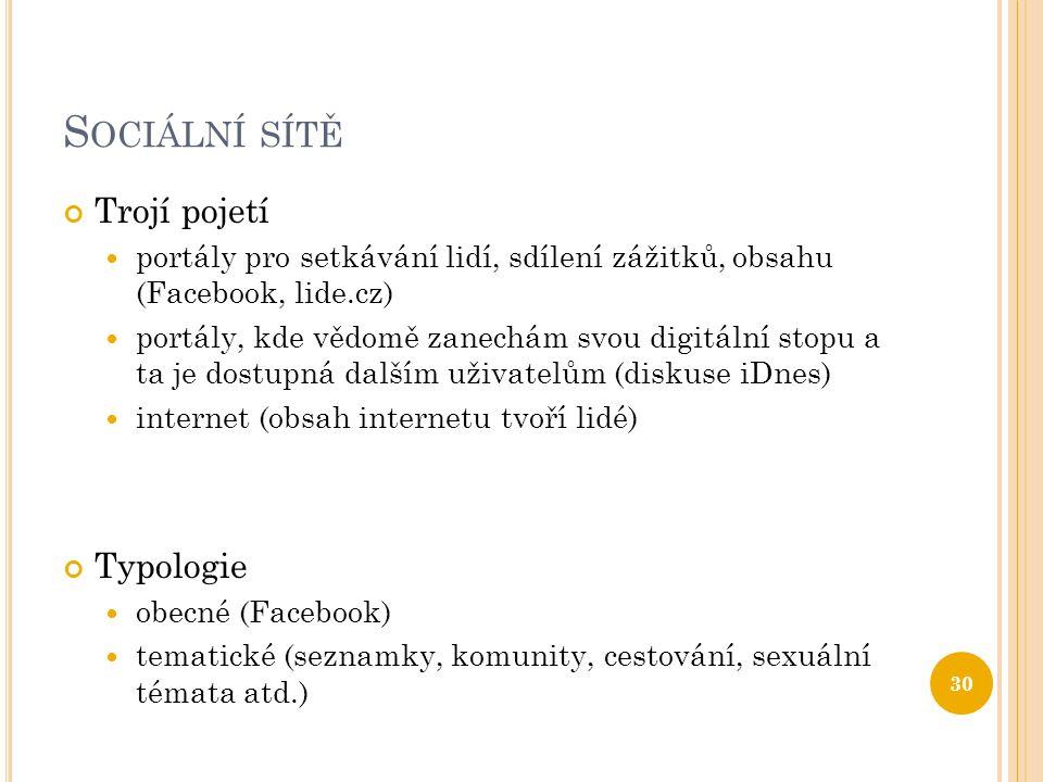 S OCIÁLNÍ SÍTĚ Trojí pojetí  portály pro setkávání lidí, sdílení zážitků, obsahu (Facebook, lide.cz)  portály, kde vědomě zanechám svou digitální st