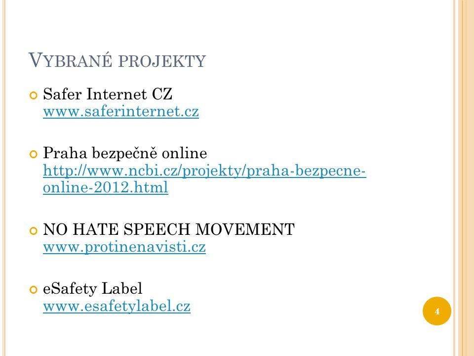 V YBRANÉ PROJEKTY Safer Internet CZ www.saferinternet.cz www.saferinternet.cz Praha bezpečně online http://www.ncbi.cz/projekty/praha-bezpecne- online