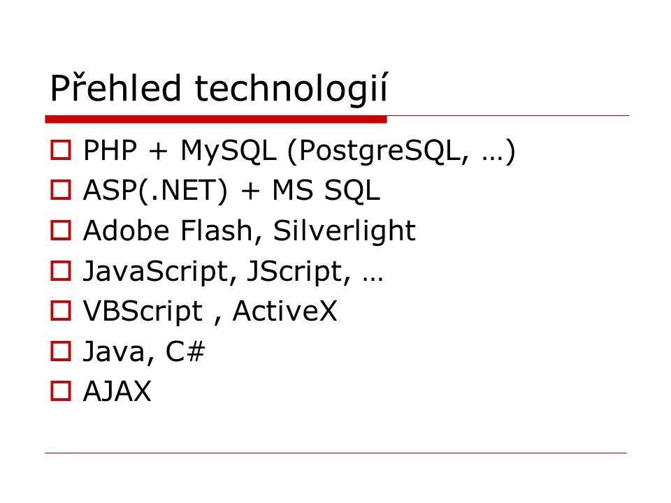 Přehled technologií  PHP + MySQL (PostgreSQL, …)  ASP(.NET) + MS SQL  Adobe Flash, Silverlight  JavaScript, JScript, …  VBScript, ActiveX  Java,