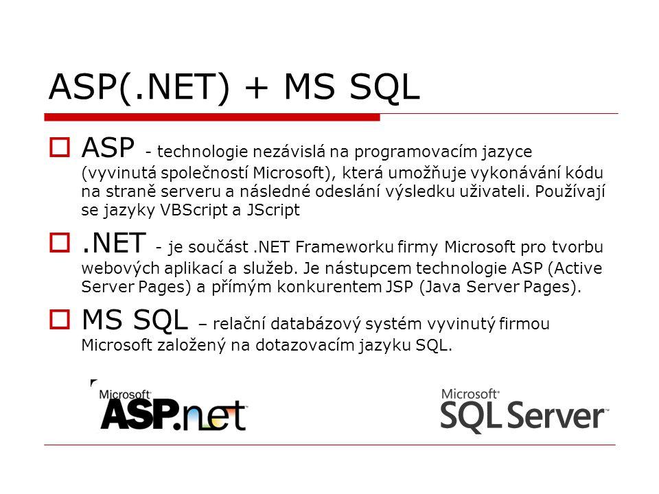 ASP(.NET) + MS SQL  ASP - technologie nezávislá na programovacím jazyce (vyvinutá společností Microsoft), která umožňuje vykonávání kódu na straně se