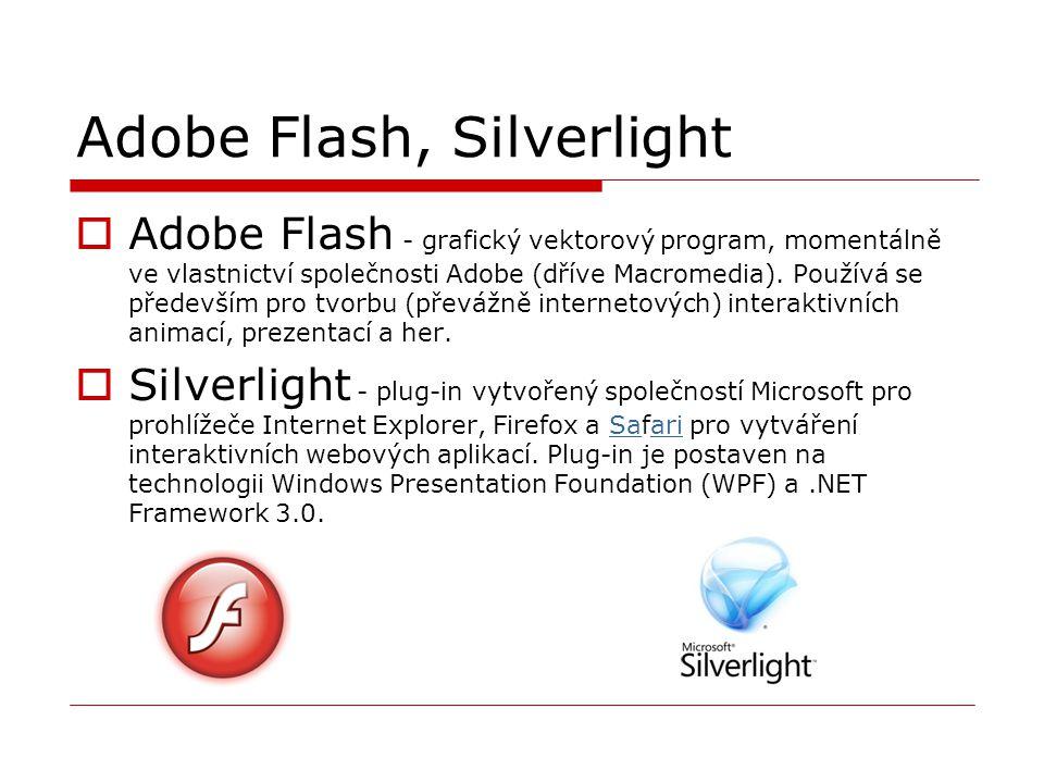 Adobe Flash, Silverlight  Adobe Flash - grafický vektorový program, momentálně ve vlastnictví společnosti Adobe (dříve Macromedia). Používá se předev