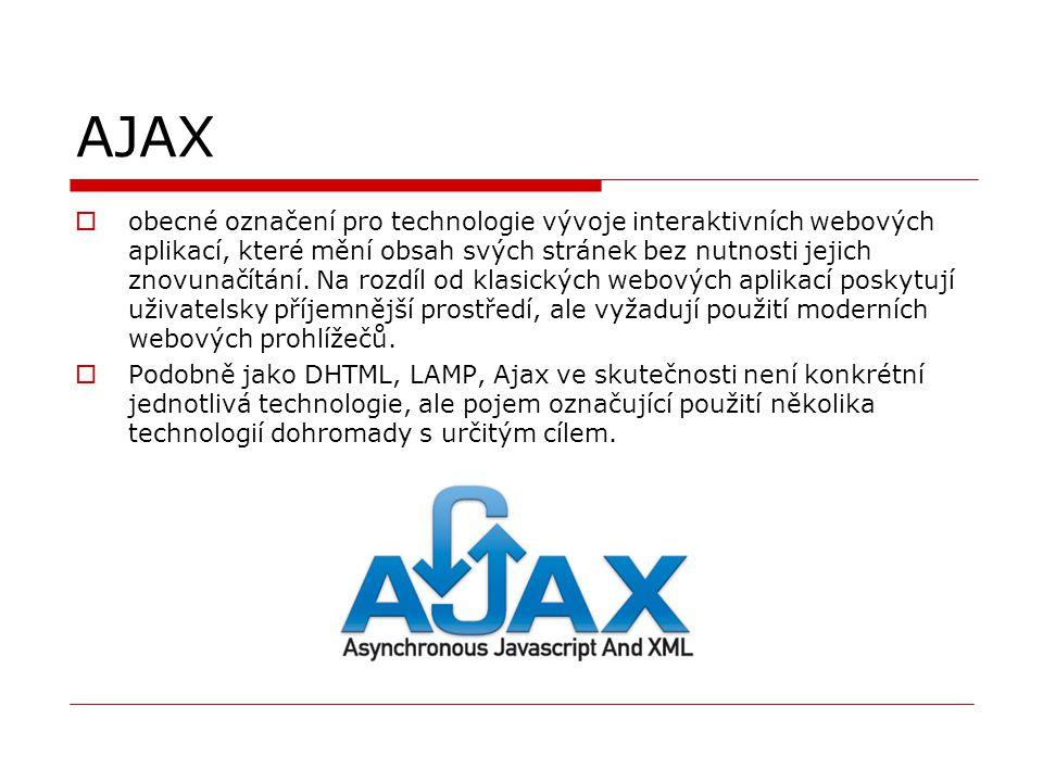 AJAX  obecné označení pro technologie vývoje interaktivních webových aplikací, které mění obsah svých stránek bez nutnosti jejich znovunačítání. Na r