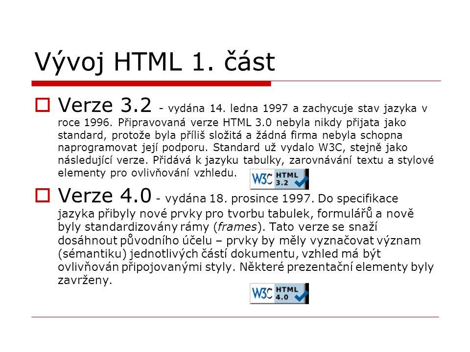 Vývoj HTML 1. část  Verze 3.2 - vydána 14. ledna 1997 a zachycuje stav jazyka v roce 1996. Připravovaná verze HTML 3.0 nebyla nikdy přijata jako stan