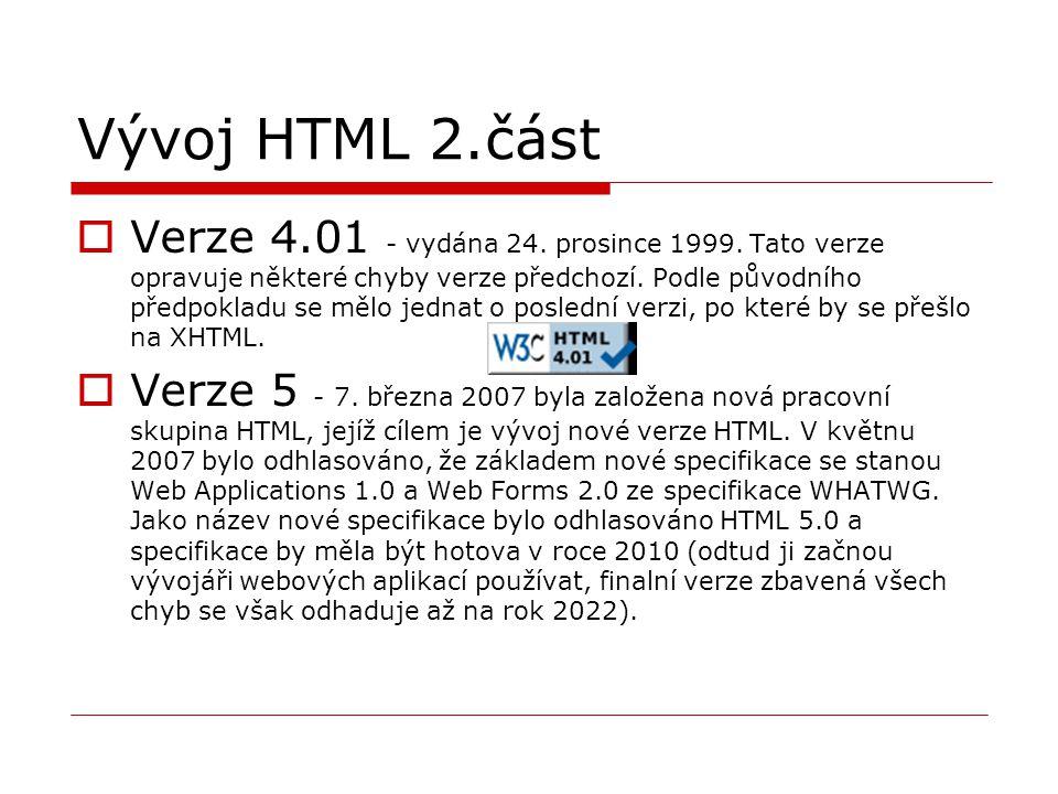 Vývoj HTML 2.část  Verze 4.01 - vydána 24. prosince 1999. Tato verze opravuje některé chyby verze předchozí. Podle původního předpokladu se mělo jedn