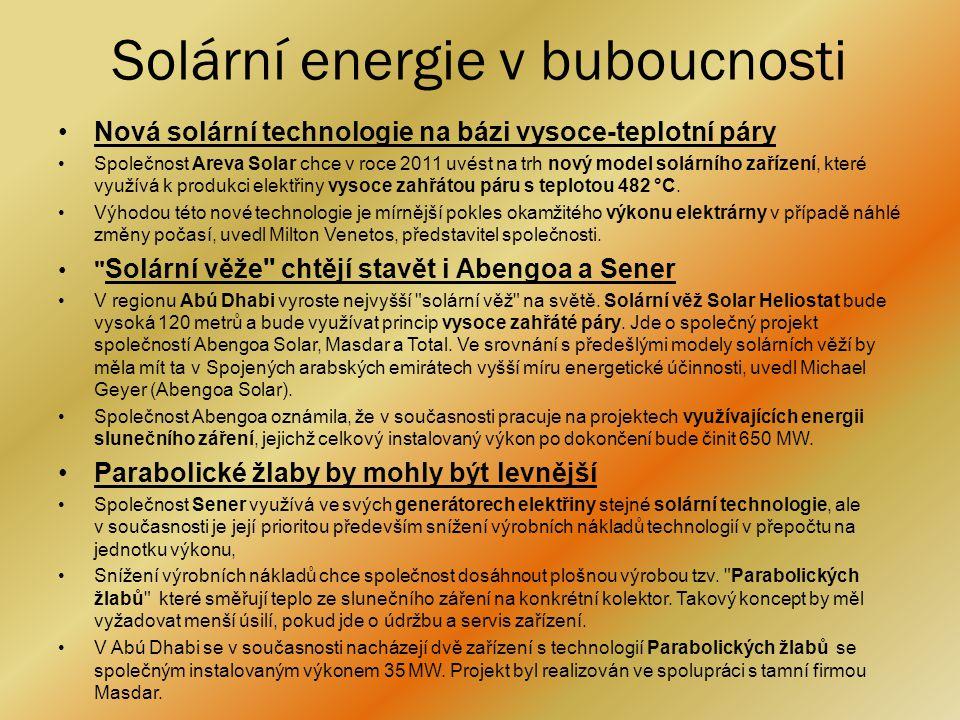 Zdroje : •http://www.nazeleno.cz/energie/fotovoltaika/3-nove-solarni- technologie-budoucnost-fotovoltaiky.aspxhttp://www.nazeleno.cz/energie/fotovoltaika/3-nove-solarni- technologie-budoucnost-fotovoltaiky.aspx •http://www.nazeleno.cz/energie/energetika/energie-budoucnosti- obnovitelne-zdroje-nebo-jaderna-energie.aspxhttp://www.nazeleno.cz/energie/energetika/energie-budoucnosti- obnovitelne-zdroje-nebo-jaderna-energie.aspx •http://www.ekobydleni.eu/solarni-energie/budoucnost-je-v-solarni- energii-tvrdi-saxo-bankhttp://www.ekobydleni.eu/solarni-energie/budoucnost-je-v-solarni- energii-tvrdi-saxo-bank •http://www.nazeleno.cz/solarni-energie.dichttp://www.nazeleno.cz/solarni-energie.dic •http://cs.wikipedia.org/wiki/Slune%C4%8Dn%C3%AD_energiehttp://cs.wikipedia.org/wiki/Slune%C4%8Dn%C3%AD_energie •http://www.1solarnick.cz/o-solarni-energii/vyhody.htmlhttp://www.1solarnick.cz/o-solarni-energii/vyhody.html