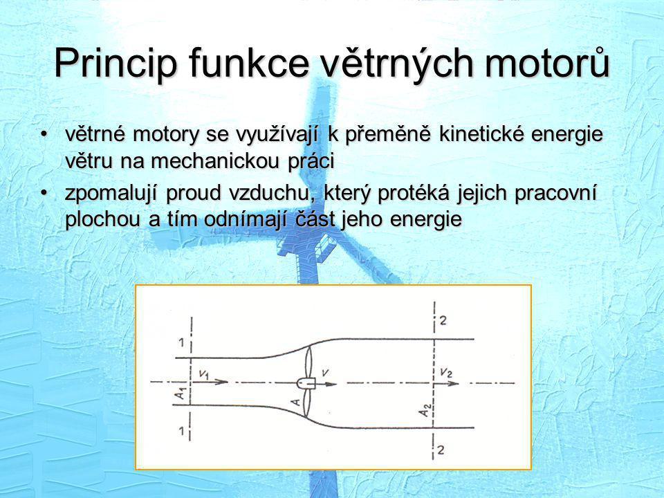 Princip funkce větrných motorů •větrné motory se využívají k přeměně kinetické energie větru na mechanickou práci •zpomalují proud vzduchu, který prot