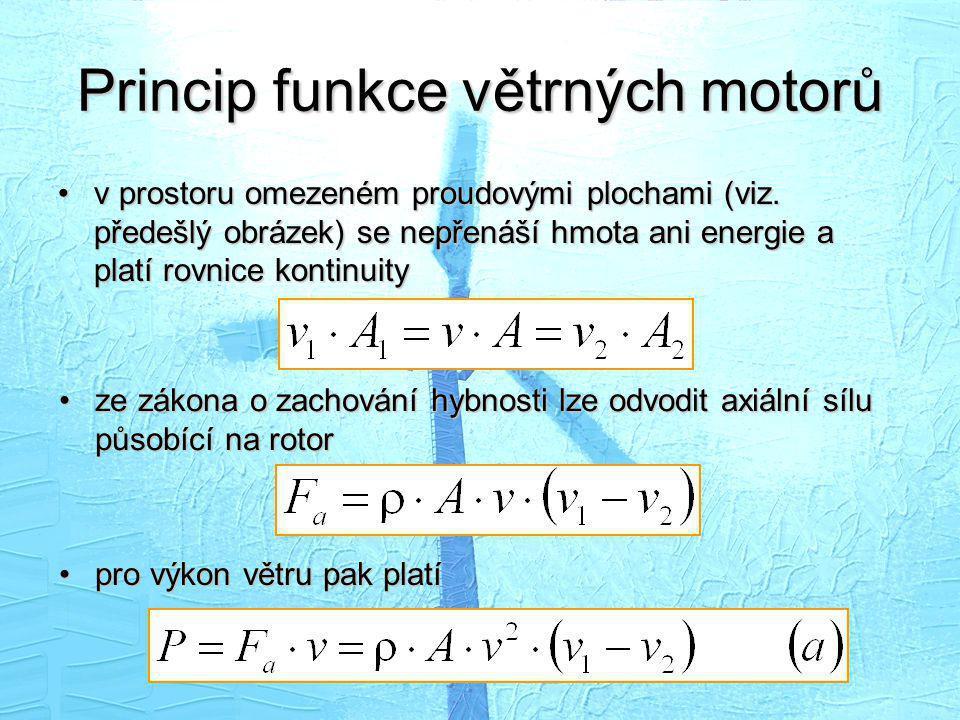 Princip funkce větrných motorů •v prostoru omezeném proudovými plochami (viz. předešlý obrázek) se nepřenáší hmota ani energie a platí rovnice kontinu