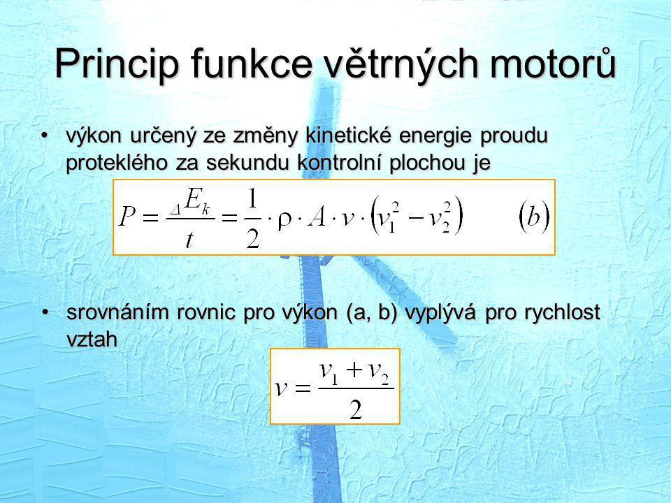 Princip funkce větrných motorů •výkon určený ze změny kinetické energie proudu proteklého za sekundu kontrolní plochou je •srovnáním rovnic pro výkon