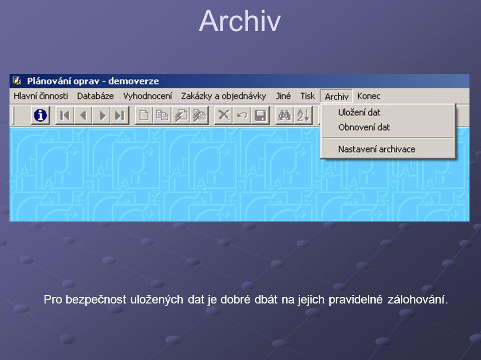 Archiv Pro bezpečnost uložených dat je dobré dbát na jejich pravidelné zálohování.