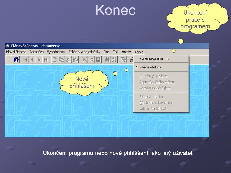 Konec Ukončení programu nebo nové přihlášení jako jiný uživatel. Ukončení práce s programem Nové přihlášení
