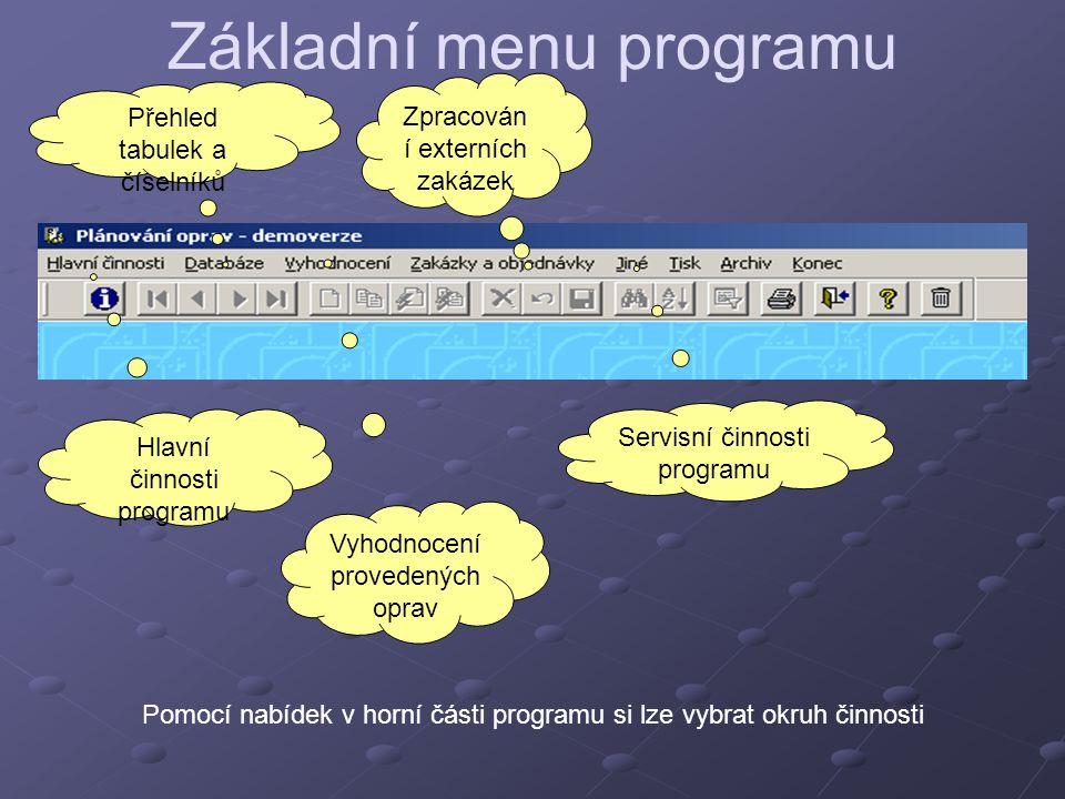 Základní menu programu Pomocí nabídek v horní části programu si lze vybrat okruh činnosti Hlavní činnosti programu Přehled tabulek a číselníků Vyhodno