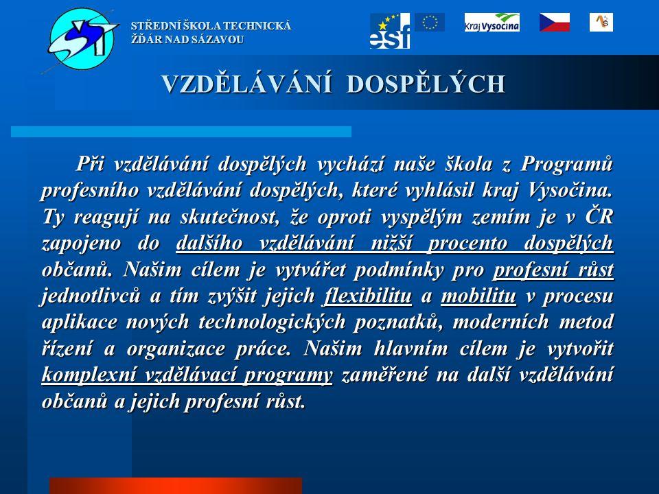 VZDĚLÁVÁNÍ DOSPĚLÝCH Při vzdělávání dospělých vychází naše škola z Programů profesního vzdělávání dospělých, které vyhlásil kraj Vysočina. Ty reagují