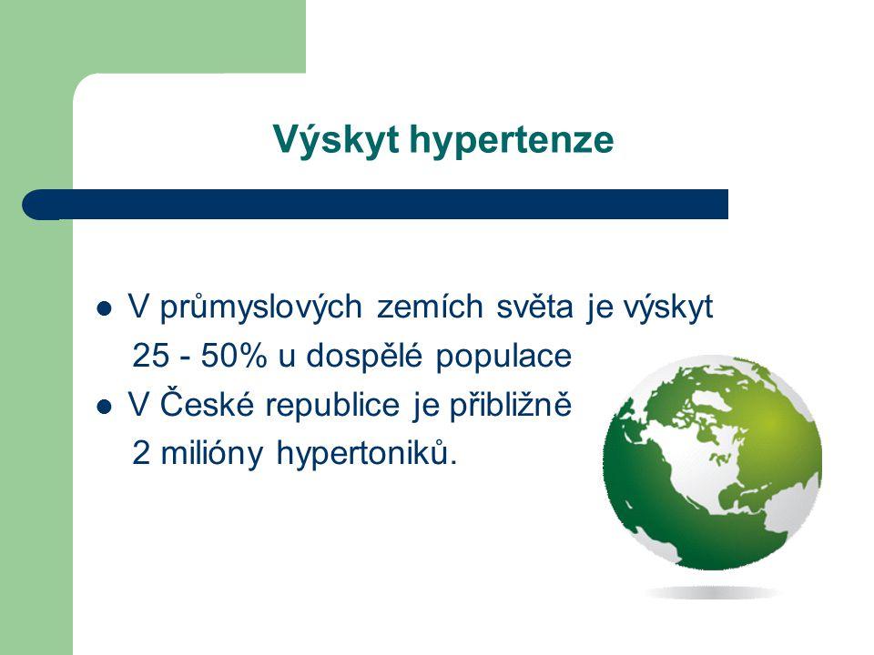 Výskyt hypertenze  V průmyslových zemích světa je výskyt 25 - 50% u dospělé populace  V České republice je přibližně 2 milióny hypertoniků.