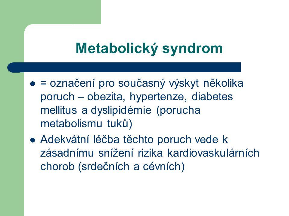 Metabolický syndrom  = označení pro současný výskyt několika poruch – obezita, hypertenze, diabetes mellitus a dyslipidémie (porucha metabolismu tuků)  Adekvátní léčba těchto poruch vede k zásadnímu snížení rizika kardiovaskulárních chorob (srdečních a cévních)