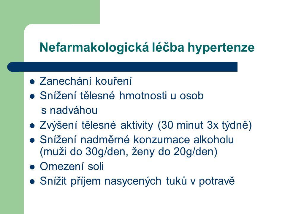 Nefarmakologická léčba hypertenze  Zanechání kouření  Snížení tělesné hmotnosti u osob s nadváhou  Zvýšení tělesné aktivity (30 minut 3x týdně)  Snížení nadměrné konzumace alkoholu (muži do 30g/den, ženy do 20g/den)  Omezení soli  Snížit příjem nasycených tuků v potravě