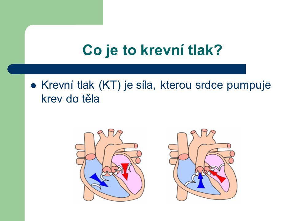 Co je to krevní tlak?  Krevní tlak (KT) je síla, kterou srdce pumpuje krev do těla