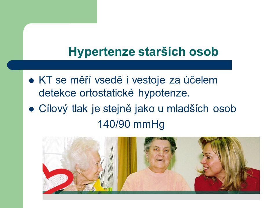 Hypertenze starších osob  KT se měří vsedě i vestoje za účelem detekce ortostatické hypotenze.