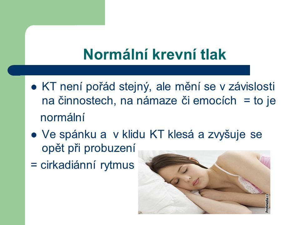 Normální krevní tlak  KT není pořád stejný, ale mění se v závislosti na činnostech, na námaze či emocích = to je normální  Ve spánku a v klidu KT klesá a zvyšuje se opět při probuzení = cirkadiánní rytmus