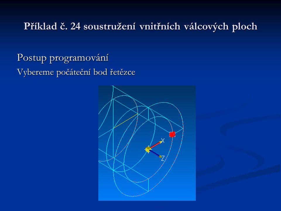 Příklad č. 24 soustružení vnitřních válcových ploch Postup programování Vybereme počáteční bod řetězce