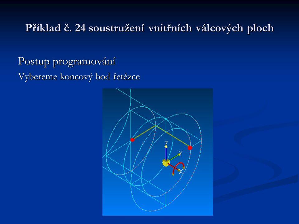 Příklad č. 24 soustružení vnitřních válcových ploch Postup programování Vybereme koncový bod řetězce