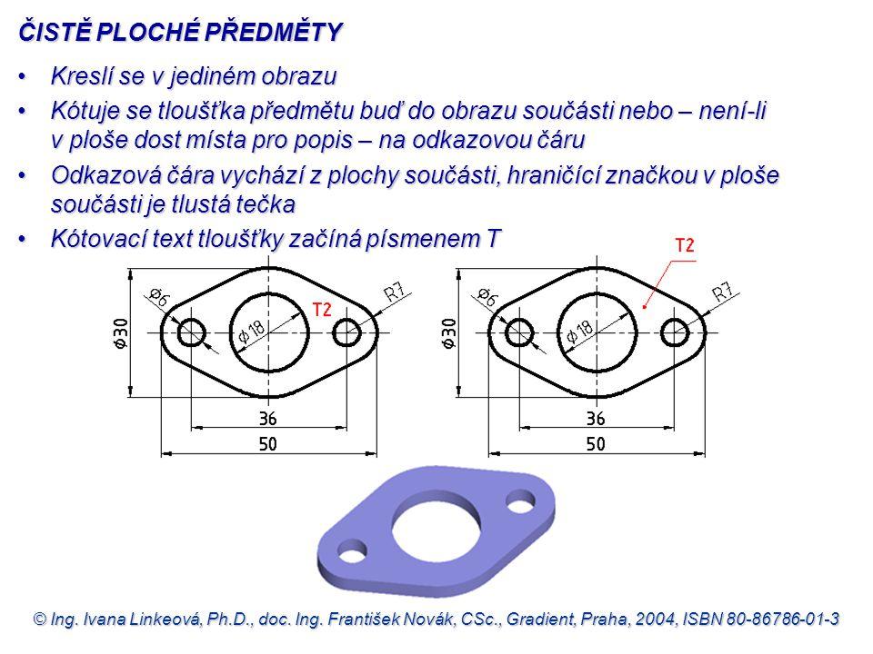 © Ing. Ivana Linkeová, Ph.D., doc. Ing. František Novák, CSc., Gradient, Praha, 2004, ISBN 80-86786-01-3 ČISTĚ PLOCHÉ PŘEDMĚTY •Kreslí se v jediném ob