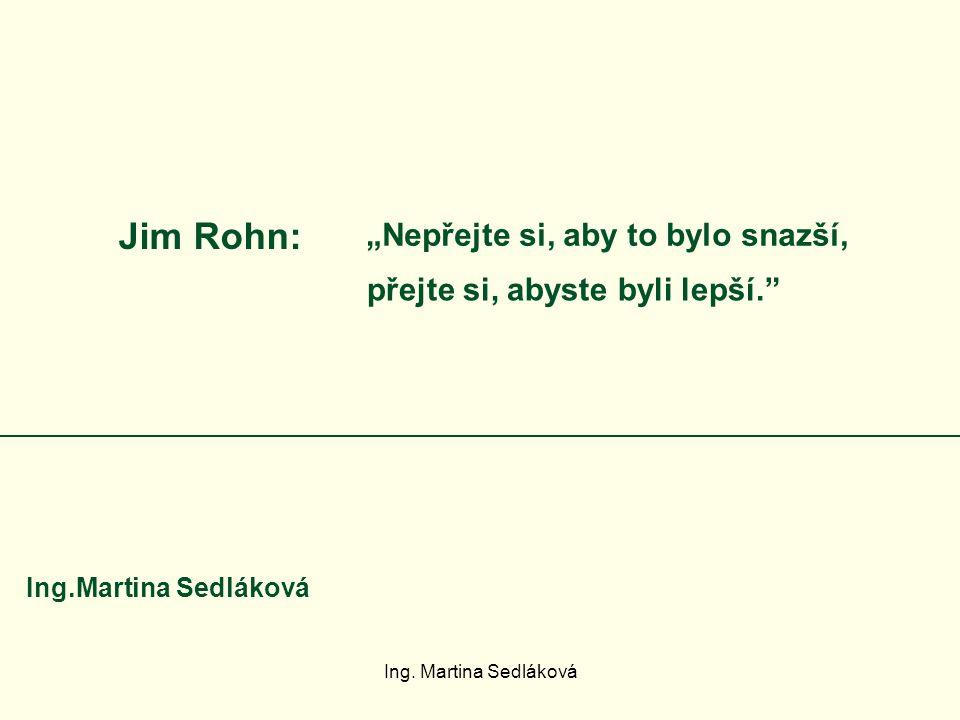 """Jim Rohn: """"Nepřejte si, aby to bylo snazší, přejte si, abyste byli lepší."""" Ing.Martina Sedláková"""
