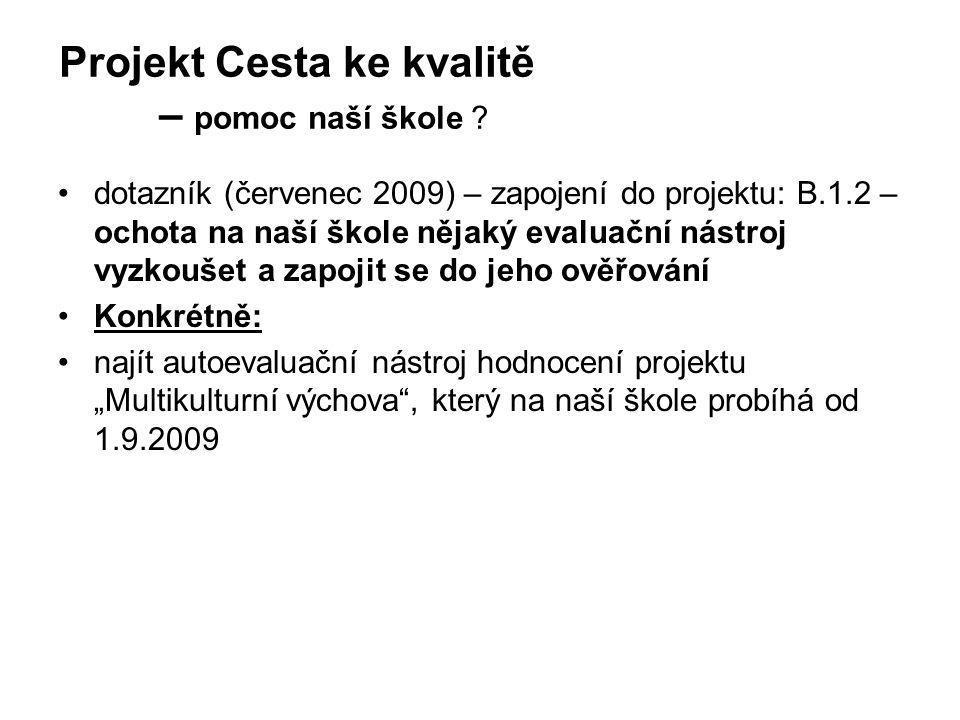 Projekt Cesta ke kvalitě – pomoc naší škole ? •d•dotazník (červenec 2009) – zapojení do projektu: B.1.2 – ochota na naší škole nějaký evaluační nástro