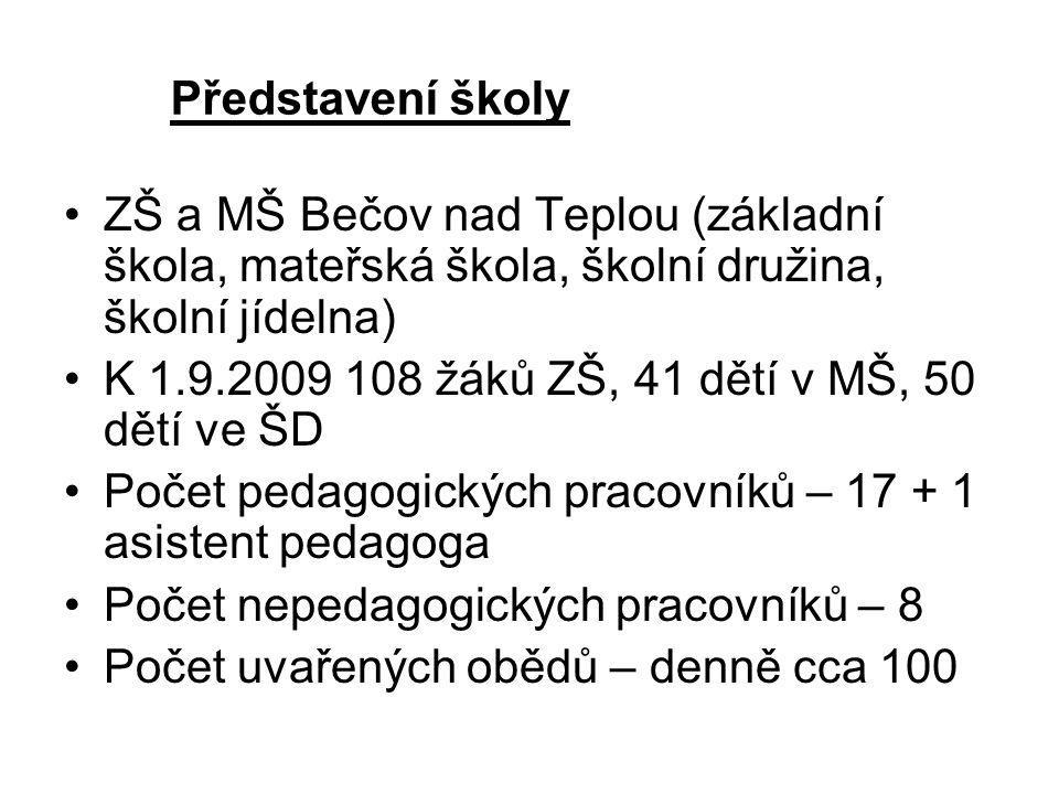 Představení školy •Z•ZŠ a MŠ Bečov nad Teplou (základní škola, mateřská škola, školní družina, školní jídelna) •K•K 1.9.2009 108 žáků ZŠ, 41 dětí v MŠ