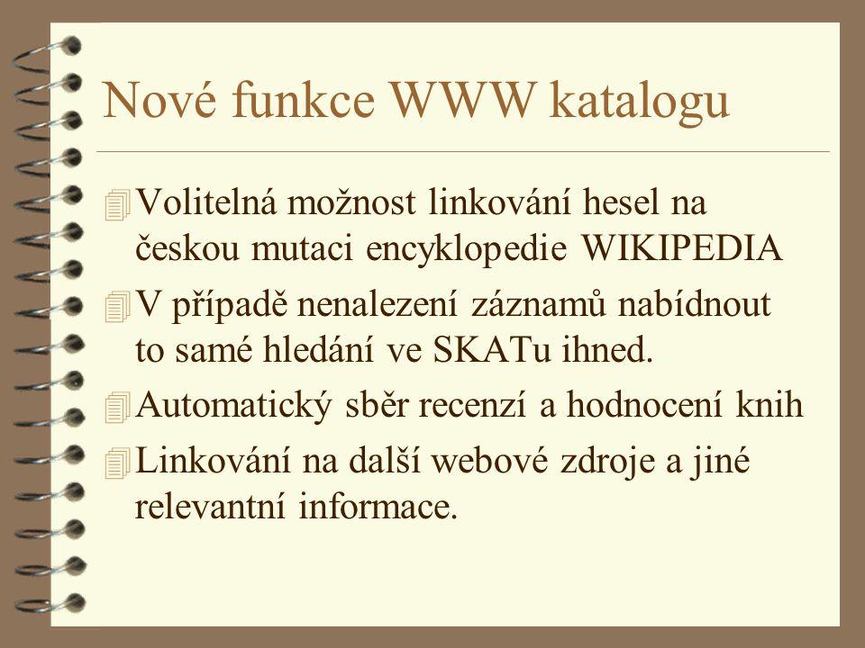Nové funkce WWW katalogu 4 Volitelná možnost linkování hesel na českou mutaci encyklopedie WIKIPEDIA 4 V případě nenalezení záznamů nabídnout to samé hledání ve SKATu ihned.