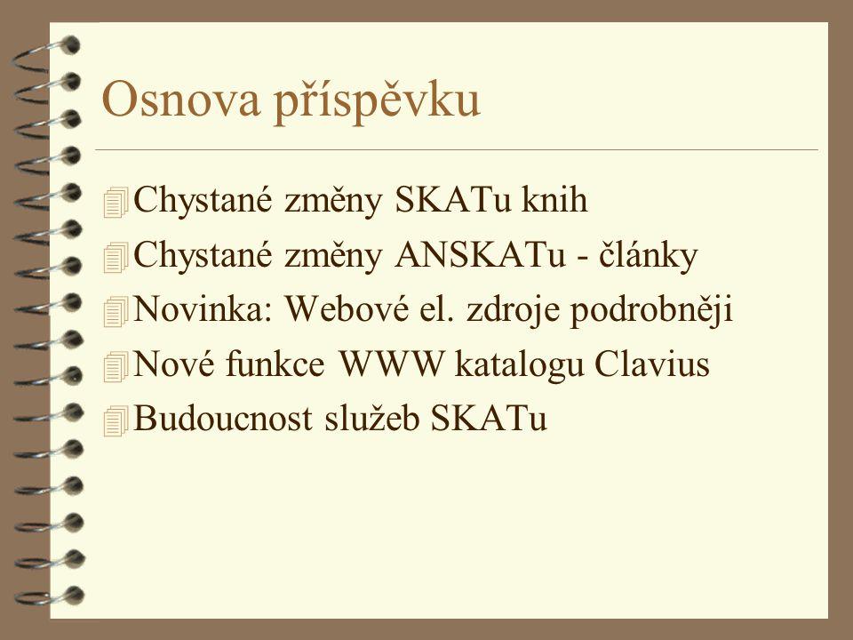 Osnova příspěvku 4 Chystané změny SKATu knih 4 Chystané změny ANSKATu - články 4 Novinka: Webové el.