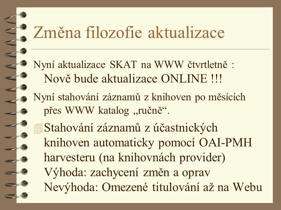 Změna filozofie aktualizace Nyní aktualizace SKAT na WWW čtvrtletně : Nově bude aktualizace ONLINE !!.