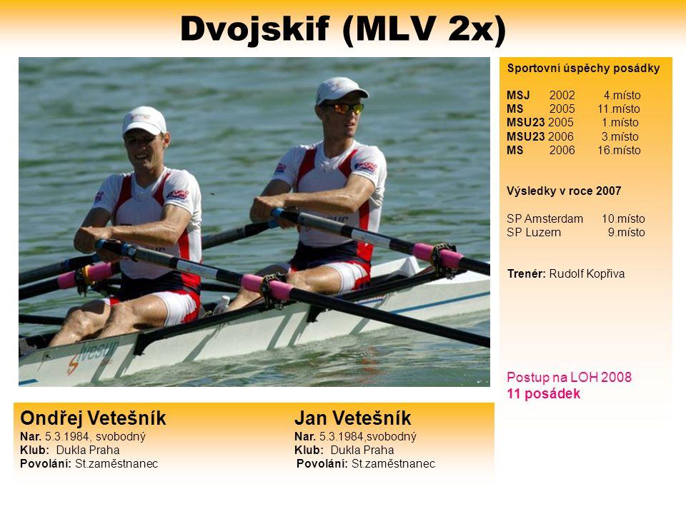 Dvojskif (W2x) Jitka Antošová Gabriela Vařeková Nar. 13.3.1987, svobodná Nar. 18.6.1987, svobodná Klub: VK Slavia Praha Klub: VK Slavia Praha Povolání