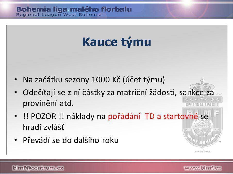 Kauce týmu • Na začátku sezony 1000 Kč (účet týmu) • Odečítají se z ní částky za matriční žádosti, sankce za provinění atd.