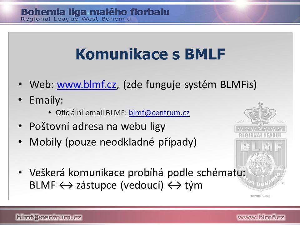 Komunikace s BMLF • Web: www.blmf.cz, (zde funguje systém BLMFis)www.blmf.cz • Emaily: • Oficiální email BLMF: blmf@centrum.czblmf@centrum.cz • Poštovní adresa na webu ligy • Mobily (pouze neodkladné případy) • Veškerá komunikace probíhá podle schématu: BLMF ↔ zástupce (vedoucí) ↔ tým