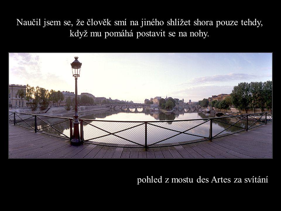 Francouzský institut & Nový most Pont Neuf Naučil jsem se, že když novorozeně poprvé sevře do pěstičky prst svého táty, lapí ho tak navždy.
