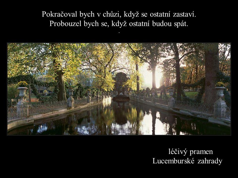 léčivý pramen Lucemburské zahrady Pokračoval bych v chůzi, když se ostatní zastaví.