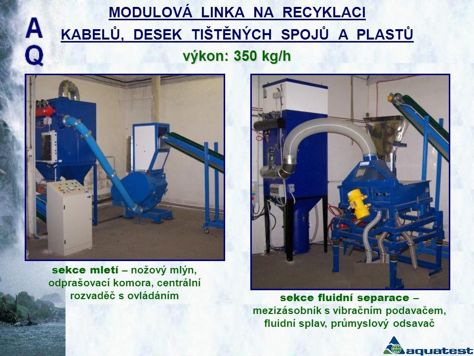 výkon: 350 kg/h MODULOVÁ LINKA NA RECYKLACI KABELŮ, DESEK TIŠTĚNÝCH SPOJŮ A PLASTŮ výkon: 350 kg/h sekce mletí – nožový mlýn, odprašovací komora, cent